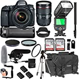 Canon EOS 6D Mark II 24-105mm f/4 L is II USM Lens + 128GB Memory + Canon Deluxe Camera Bag + Pro Battery Bundle + Power Grip + Microphone + TTL Speed Light + Pro Filters,(23pc Bundle)