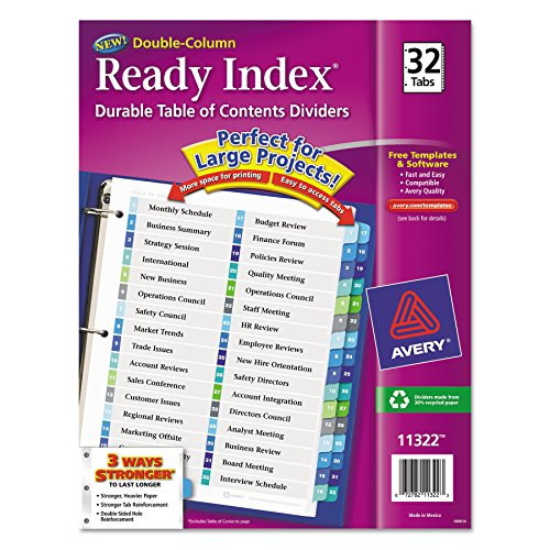 Avery Ready Index Double-Column Table of Contents Dividers, 32-Tab, Multi-Color (11322)