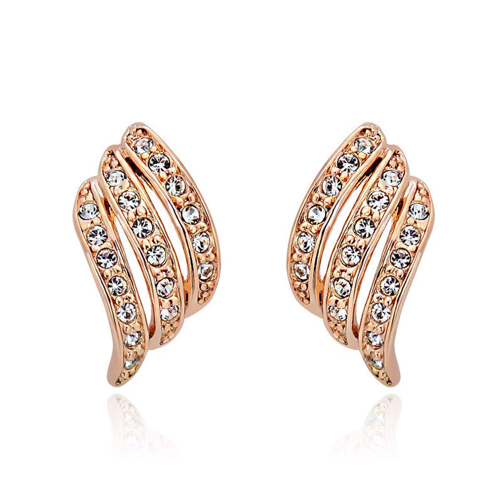 JORA Rose Gold Pave Diamond-studded Cubic Zirconia Stud Earrings for Women Wedding Jewelry