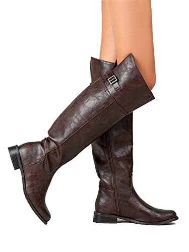 23f211768c9c0 Amazon.com | Breckelle's Knee High Zipper Rider Boots Bsrider-82 (8 ...