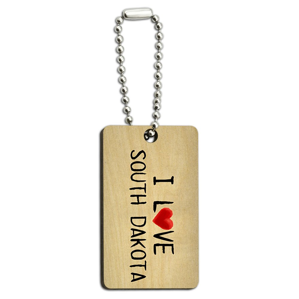 I Love South Dakota Written on Paper Wood Wooden Rectangle Key Chain
