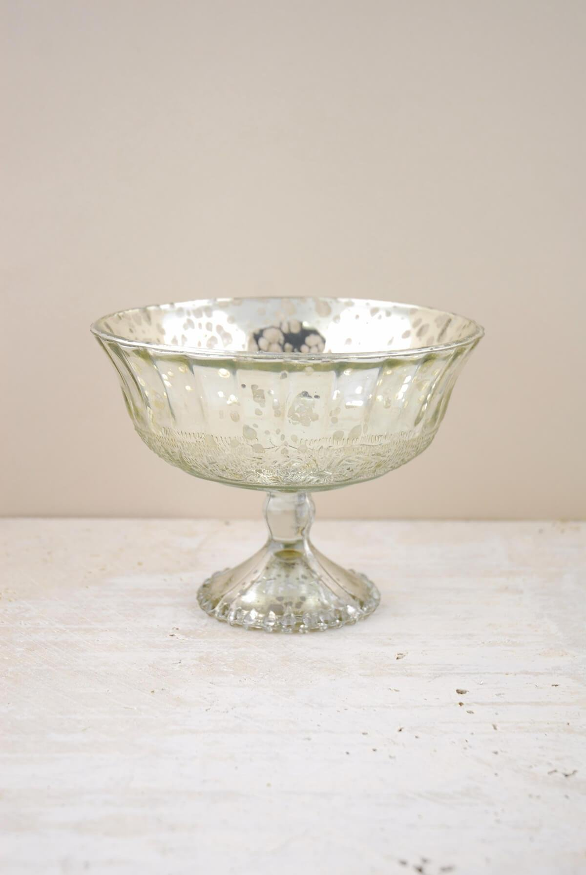 Richland Silver Mercury Glass Compote 7''x 5'' Set of 6