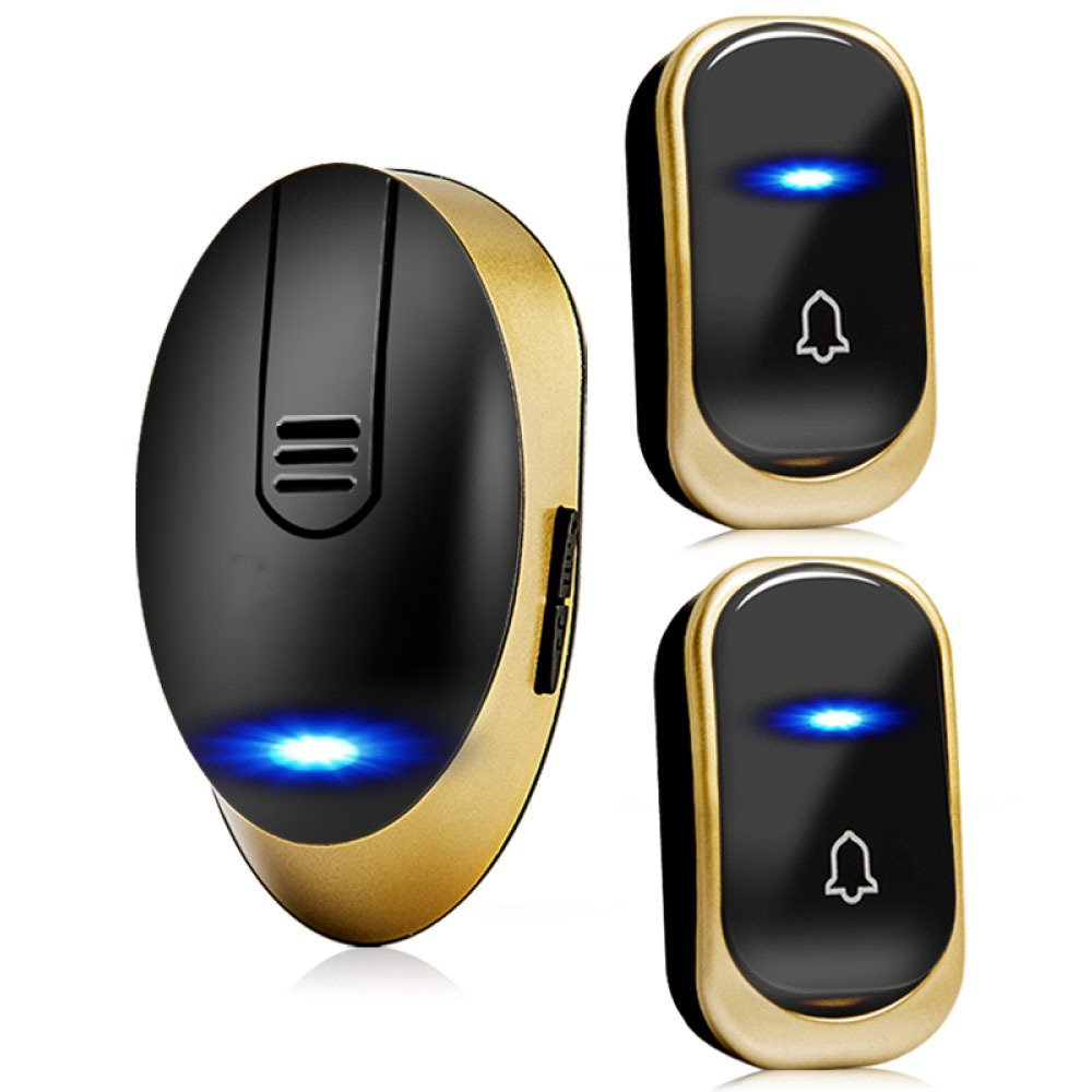 NQFL Wireless Doorbell Long Range Home Tyrant Gold Electronic Remote Control Old Caller Volume,Black