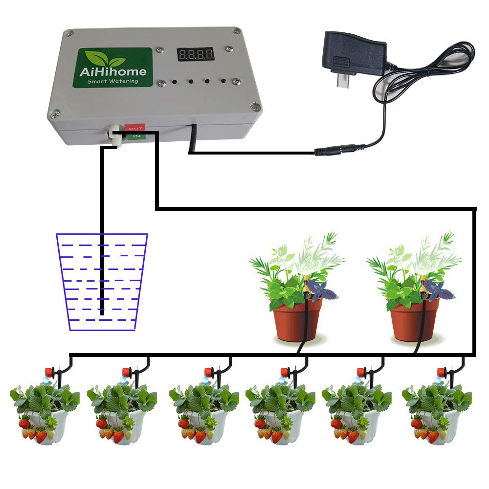 AiHihome Automatic Watering System Indoor Plant Auto Watering - By DIY  Timer Irrigation Controller Watering for Garden Flower Plant | Buy me Now  Shop