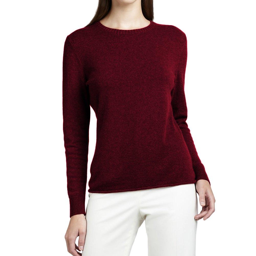 Parisbonbon Women's 100% Cashmere Crew Neck Sweater Color Rosewood Size M by Parisbonbon