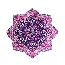 Harihar Textile Round Lotus Flower Mandala Tapestry - 100% Cotton - Outdoor Beach Roundie - Hippie Gypsy Boho Throw Towel Tablecloth Hanging - Purple/Pink - Floral Circle Design/Shape 72""