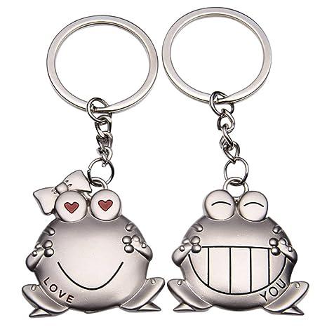 ODETOJOY 2 unidades, diseño de rana de metal plateado llavero para pareja, novio y novia, llavero para él y para ella