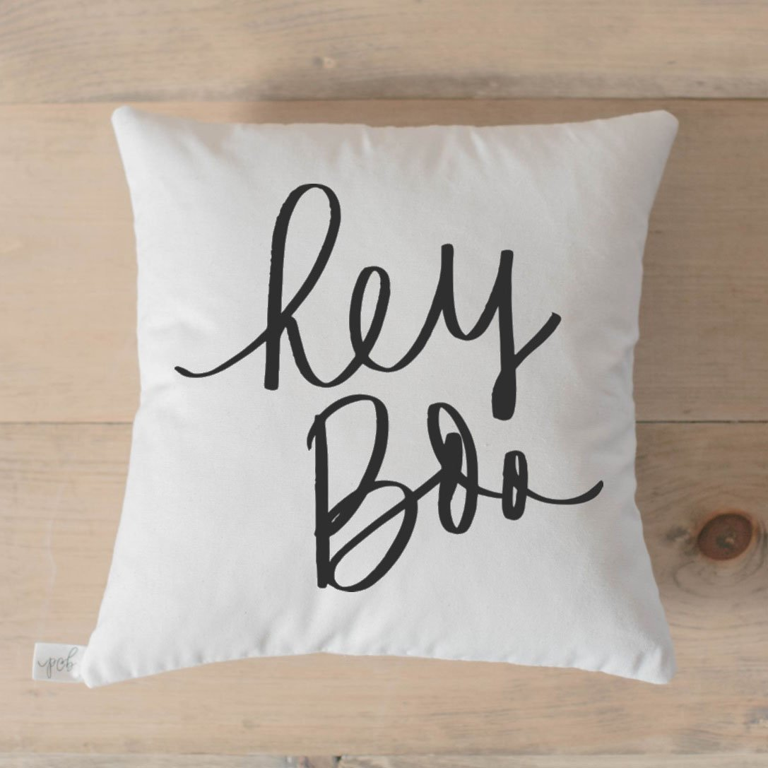 Throw Pillow - Hey Boo, Handmade in the USA, calligraphy, home decor, wedding gift, engagement present, housewarming gift, cushion cover, throw pillow