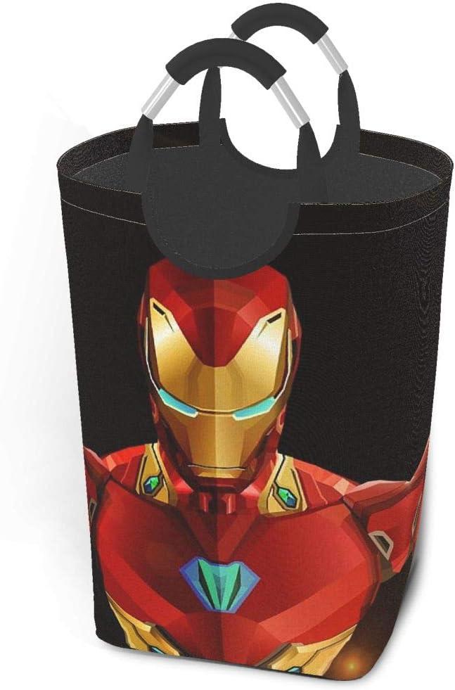 KSHGZH Laundry Basket Collapsible Laundry Hamper - Iron Man Clothes Bag Storage Basket, Folding Washing Bin 50l