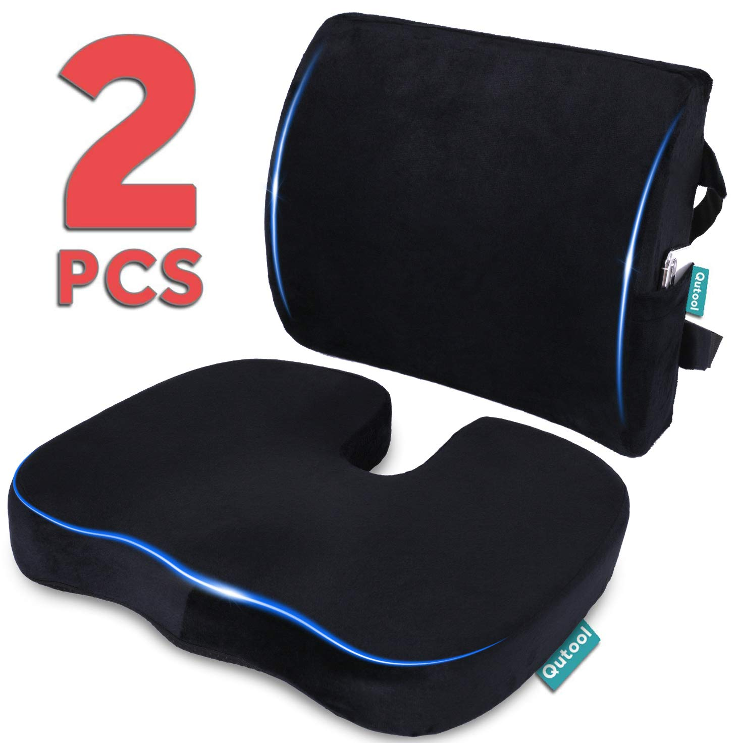 B074CV2HQC Seat Cushion Coccyx Orthopedic Memory Foam and Lumbar Support Pillow for Office Chair and Car Chair Cushion for Low Back Support, Tailbone Pain, Sciatica Relief Black Qutool 619VVwCfz1L