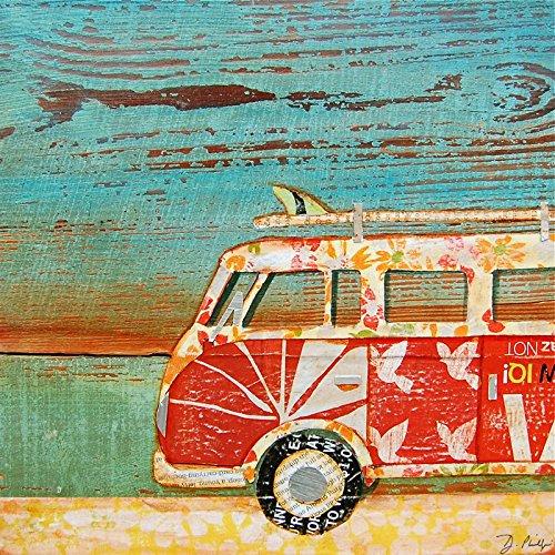 Cruise Vintage Print (Santa Cruise - Danny Phillips art print, UNFRAMED, Vw van ocean beach Inspired funky retro vintage mixed media art wall & home decor poster, ALL SIZES)