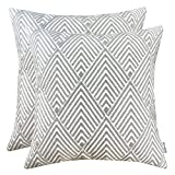 SLOW COW Cotton Embroidery Throw Pillow Covers, Grey Diamonds Decor Accent Decorative Pillow Covers for Sofa and Living Room, 18x18 Inch, Set of 2.