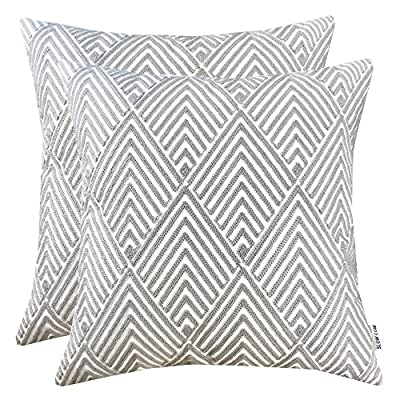 SLOW COW Cotton Embroidery Throw Pillow Covers Grey Diamonds Decor Accent Decorative Pillow Covers for Sofa and Living Room, 18x18 Inch, Set of 2 - This package include 2 piece decorative embroidery throw pillow cover, no filled insert; embroidered floral pattern only on the front side, the background it's kind of a natural linen white color This pillow cover measuring 18 x 18 inches, corner to corner without insert filled; as a result of manual production, sewing and cutting will inevitably occur a little deviation, please allow 2-3 centimeters This is embroidery pillow cover, not printed, designed with unique patterns, made of perfect natural organic cotton, suitable for functional and decorative purposes, like bed, couch, sofa, chair, office, shop decoration - living-room-soft-furnishings, living-room, decorative-pillows - 619VWhy7vbL. SS400  -