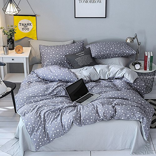 Ludan 3 Pcs Bedding Sets for Unisex 100% Cotton 800TC 1 Duvet Cover +2 Pillow Cases Included Star Twin Full Queen King Size,Without Comforter (Grey, Full)
