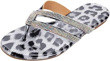 Dainzuy Womens Leopard Print Flip Flops