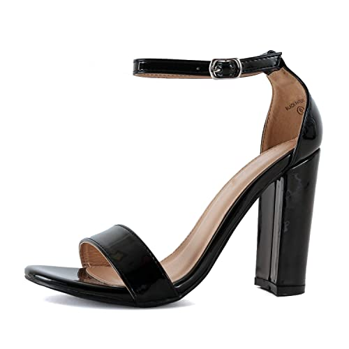 e1c187a5299 Guilty Shoes Guilty Heart | Womens Comfort Open Toe Ankle Strap Chunky  Block High Heel | Sexy Dress Formal Party Sandal