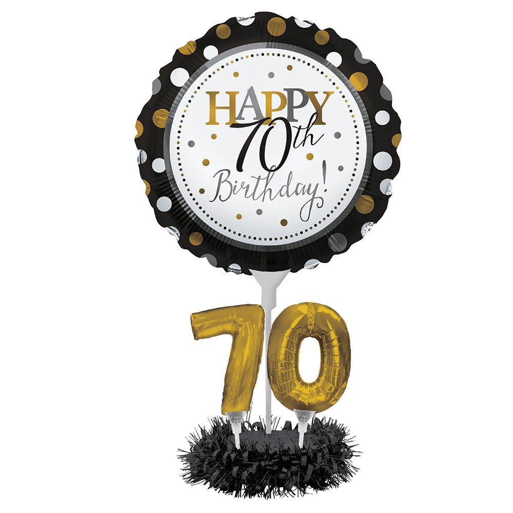 Happy 70th Birthday Balloon Centerpiece Black And Gold For Milestone