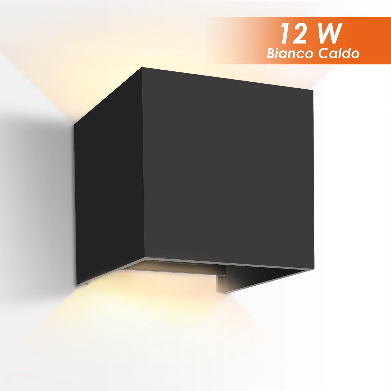 GHB 12W Lampada Esterna da Parete Applique da Parete Impermeabile Lampada Muro in Alluminio Angolo Regolabile Bianco Caldo IP65 - Nero [Classe di efficienza energetica A+] LOETAD