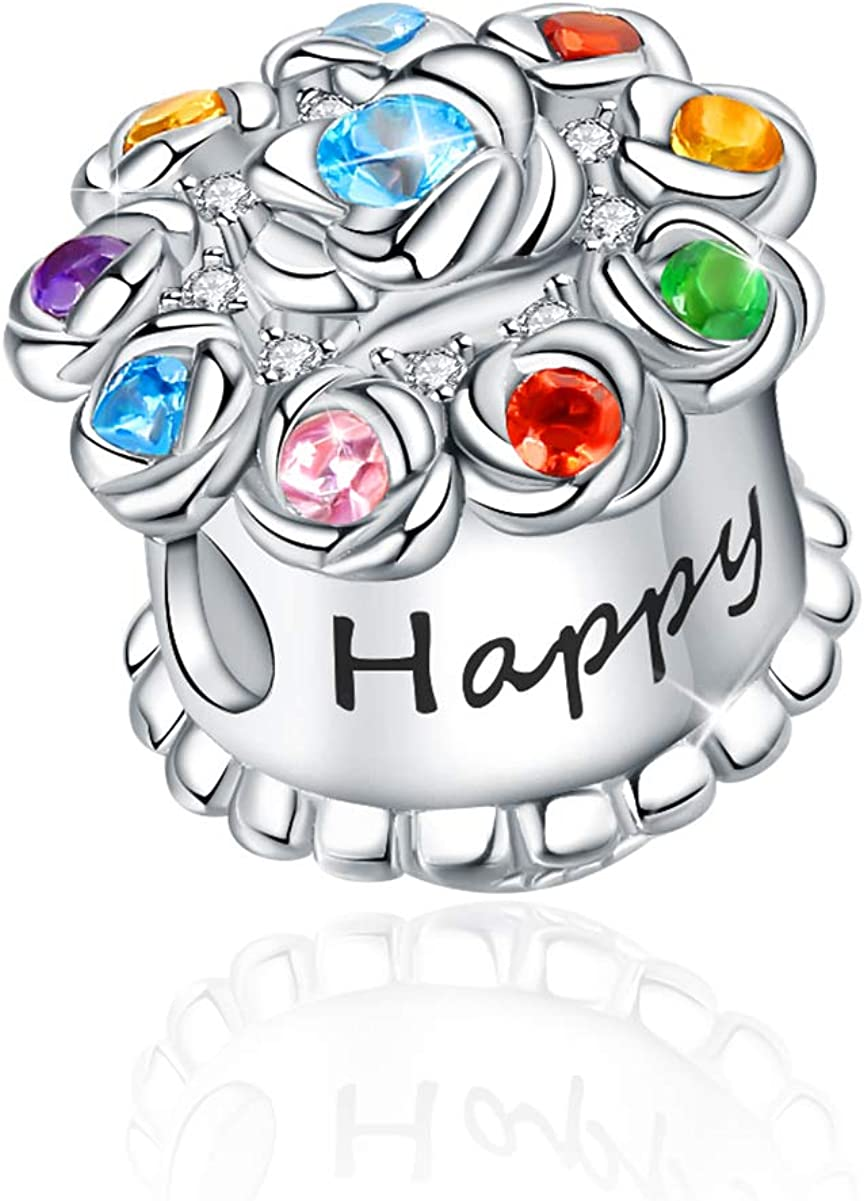 FOREVER QUEEN 925 Sterling Silver Happy Birthday Cake BDAY Charms Beads With Colorful CZ Stones Fit Bracelets Necklaces Christmas Gift Jewelry for Women