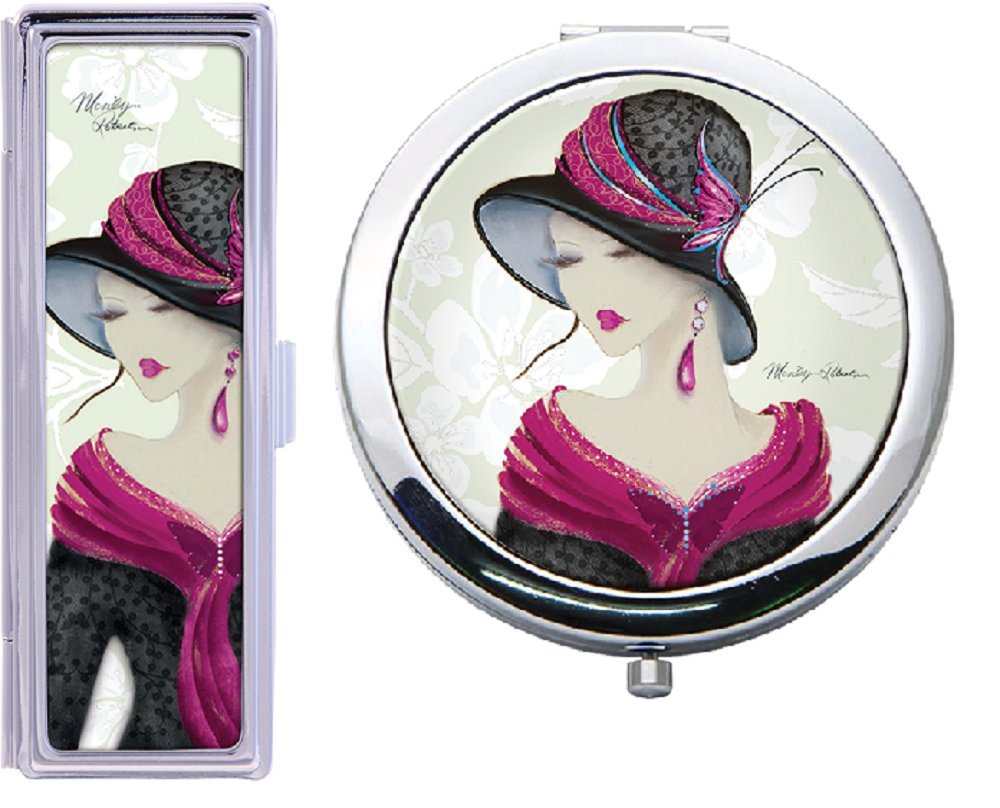 AMELIA Simply Elegant Compact Mirror and Lipstick Case Set NEW