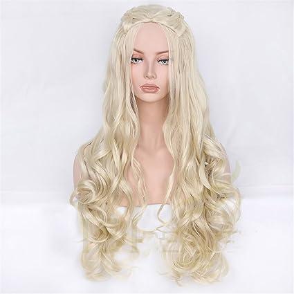 Peluca sintética ondulada gris largo pelucas cosplay pelo Juegos de Troni Daenerys Targaryen para mujeres con