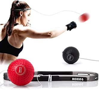 TEKXYZ Boxing Reflex Ball, 2 Difficulty Level Boxing Ball with Headband, Softer Than Tennis Ball, Perfect for Reaction, Agility, Punching Speed, Fight Skill and Hand Eye Coordination Training