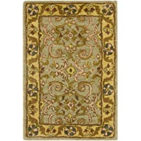 Safavieh Heritage Collection HG924A Handcrafted Traditional Oriental Green and Gold Wool Area Rug (3 x 5)