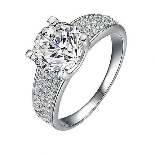 Nueva plata oro blanco diamante-anillos de compromiso baratos boda-anillos para las mujeres