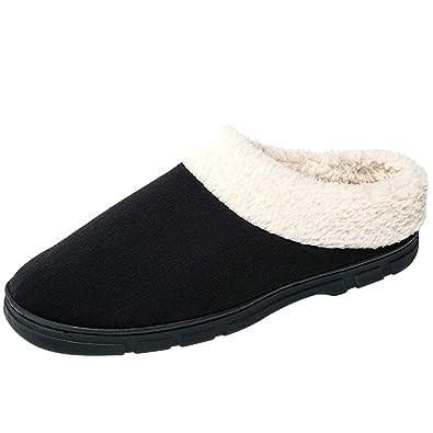 4749b732a5bc JACKSHIBO Men s Wool Plush Fleece Lined Slip On Indoor Shoes Memory Foam  Comfortable Clog House Slippers
