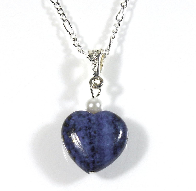 """""""Lapis Love Affair"""" Lapis Lazuli Blue Heart Necklace, 18 Inch Silvertone Chain"""