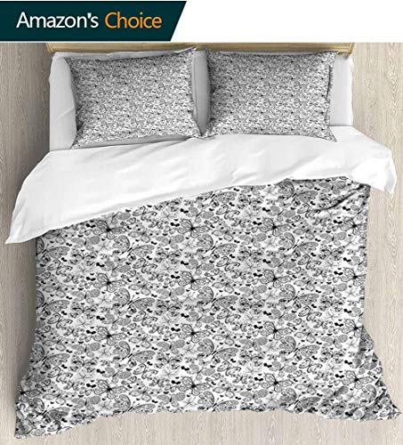 shirlyhome Tattoo 3pcs Duvet Cover Sets,Monochrome Pattern with Floral Abstract Butterflies in Filigree Style Spiral Wings Kids Bedding - Double Brushed Microfiber 79