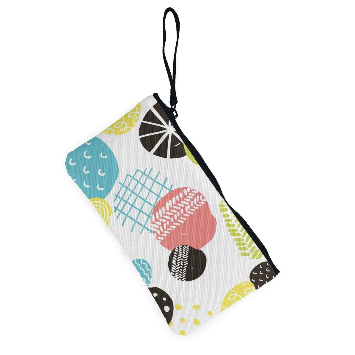 Simple with Decorative Circles Pattern Canvas Change Coin Purse Assorted Wallet Bag with Zip