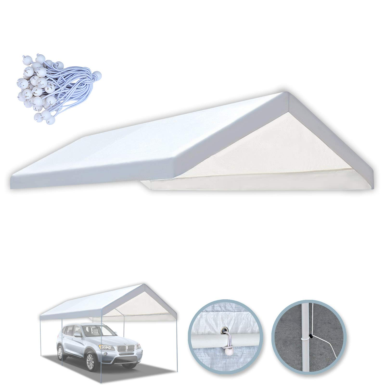 BenefitUSA 10x20 Carport Replacement Canopy Tent Garage Top Tarp Shelter Cover w Ball Bungees (with Edge) by Benefit