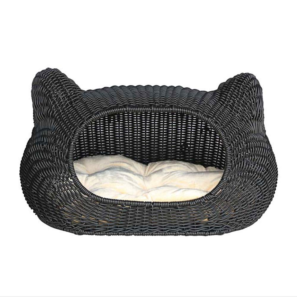 L WEAO Cat Ear Shape Washable Semi-Closed Rattan Cat Nest Kennel Villa Cat House Cat Bed House Pet Bed Four Seasons Comfortable Cat Climbing Frame Dark Brown (Size   L)