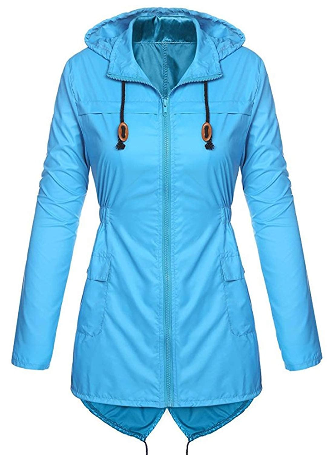 FUTURINO Damen Outdoor Regenjacke Winddicht Wasserdicht Windmantel Kapuzenjacke Windjacke Outdoor Jacke