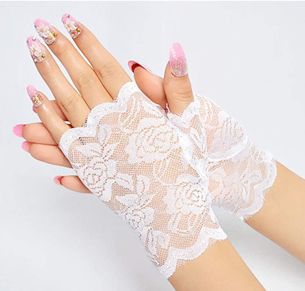 KonJin Damen Sommer Spitzen kurz Sonneschutz Handschuhe Frauen Fingerlose Half Finger Braut Handschuhe UV Schutz Fingerlose Handschuhe Sunproof Handschuhe