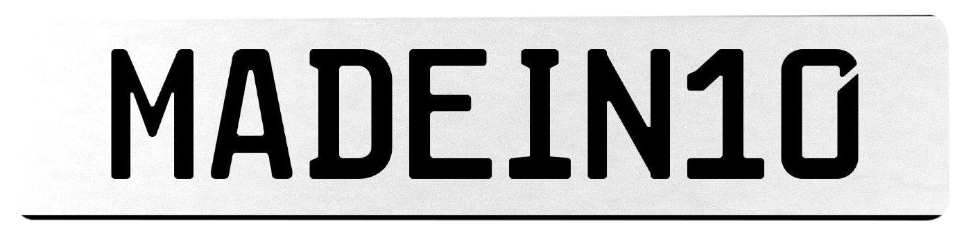 Vintage Parts 555498 MADEIN10 White Stamped Aluminum European License Plate