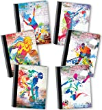 New Generation - Sport Graffiti - Composition Book, 6 PACK, WIDE Ruled, 80 Sheets / 160 Pages, 7.5 x 9.75 Inches (6 PACK COMPOSITION NOTEBOOK WIDE RULED)