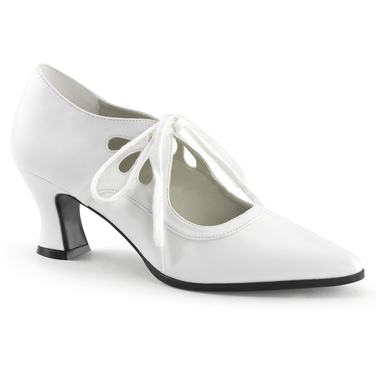 8b9cdf40f8c56 Summitfashions Womens White 2 1/2 Inch Mary Jane Heels with Cutouts and  Lace Up