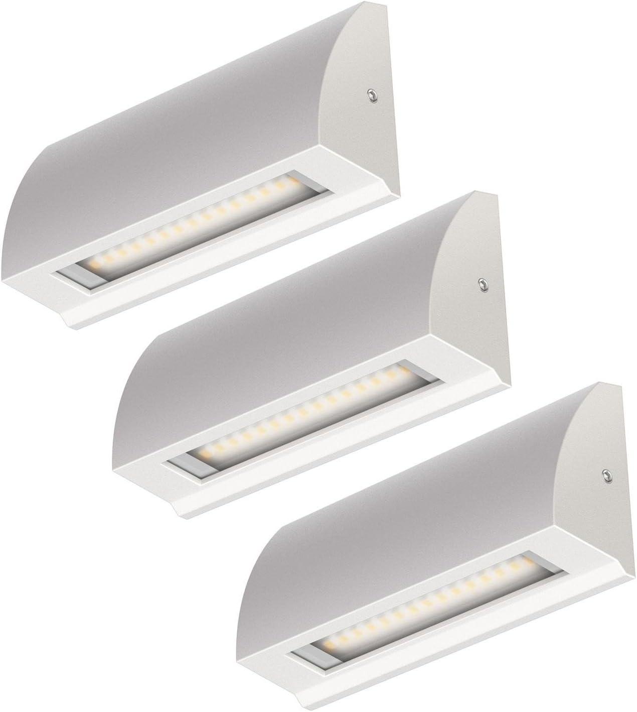 ledscom.de LED lámpara de Pared Segin lámpara de Escalera para Interior y Exterior, Plano, Aufbau, Blanca fría, 190lm, 3 UDS: Amazon.es: Electrónica