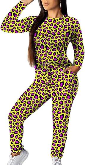 securiuu - Conjunto de 2 Piezas de chándal de Leopardo para Mujer ...
