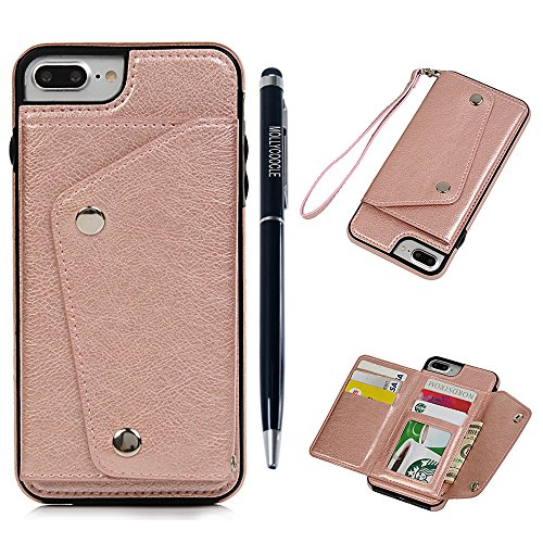iPhone 7 plus Card Holder Case, iPhone 7 plus Wallet Case, Folio Leather Magnetic Wrist Strap Slim TPU Black Case Full Body Protective Shell with KickStand for iPhone 7 plus, Rose Gold - Kid Tough Digital Camera Case