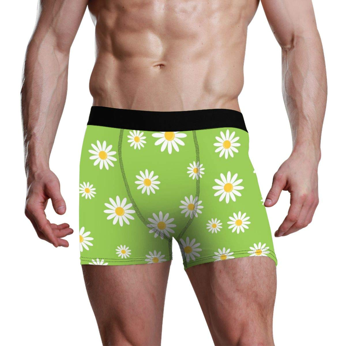 Flower Mens Boxer Briefs Long No Odor Stretchless Mens Underwear SML XL XXL
