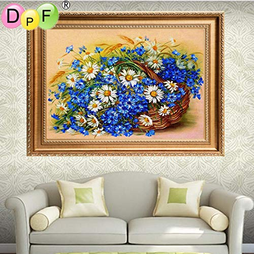 New 5D Full Diamonds Embroidered Embroidery Needlework Sewing Blue Chrysanthemum Round Diamond Painting Cross Kits Floral Mosaic Home Decor ()