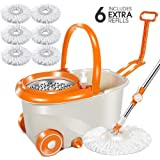 MASTERTOP 6.4L 360 ° Microfiber Spin Mop with 6 Mop Heads Mop and Drainer Bucket Set with Wheels and Long Adjustable…