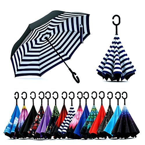 Spar. Saa Double Layer Inverted Umbrella with C-Shaped Handle, Anti-UV Waterproof Windproof Straight Umbrella for Car Rain Outdoor Use ()