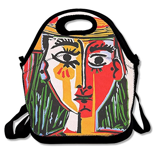 JUCHen Woman In Hat Pablo Picasso Printed Portable Lunch Bag Carry Case Tote With Zipper Strap Box Cooler Container Bags Picnic Outdoor Travel Fashionable Handbag Pouch For Women Men Kids Girls