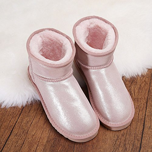 Heart&M Nuovo inverno neve stivali donna pelle bovina tubo corto tessuto dolce lanuginoso avvio a caldo