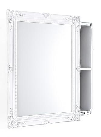Amazon.de: Spiegelschrank mit Schiebetür MDF-Holz Weiß 80 x 60 x 17 cm | {Spiegelschrank holz weiß 67}