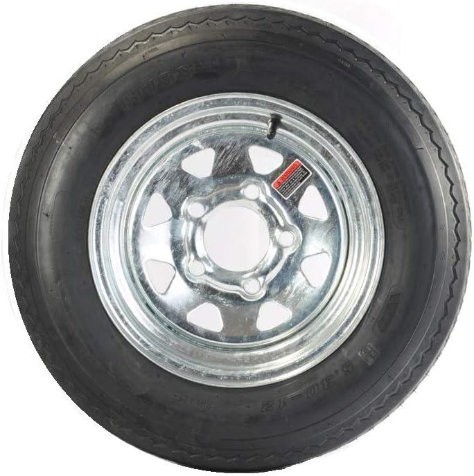 5.30-12 LRC 6 PR Eco-Trail Bias Trailer Tire on 12 4 Lug Galvanized Spoke Wheel